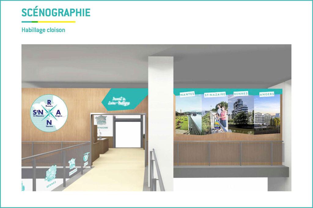 Vue 3D illustrant la façade su stand Loire-Bretagne au MIPIM 2018.